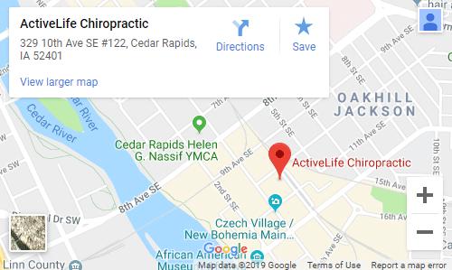 Map of Cedar Rapids Chiropractors